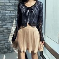 Ribbon flower lace cardigan