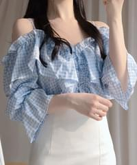 Wiki Check Off Shoulder Blouse