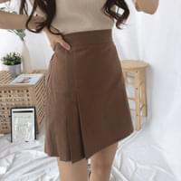 3-line pleated skirt pants