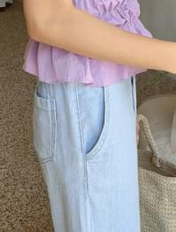 Waist back banding wide summer jeans