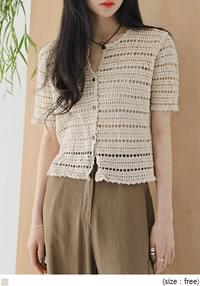 Eyelet Inset Short Sleeve Knit Cardigan