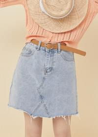 Belt set denim skirt