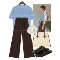 skyblue,brown,summer,summermood 코디