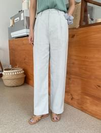 Waist back banding pin tuck wide linen pants