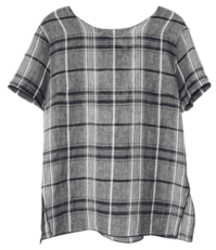 back knot check blouse
