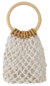 Oatmeal Nut Wood Ring Dot Bag