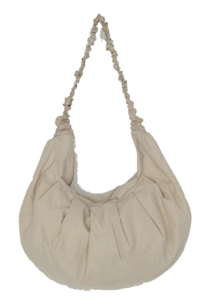 Shirring Strap Half Moon Cotton Bag
