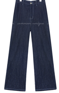 RIKA WIDE LONG DENIM PANTSWITH CELEBRITY _ Sohee Ahn wears