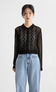 Punching see-through cropped collar neck knit cardigan