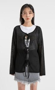 Linen see-through three-strap cardigan