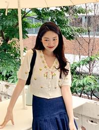 French embroidery short sleeve cardigan