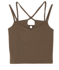 X-point ribbed sleeveless top
