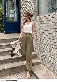 Linen two-button wide pants