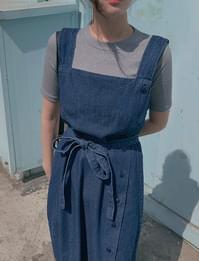 Denim Overall Dress (dark blue)