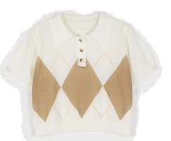 Vivid argyle collar neck knit