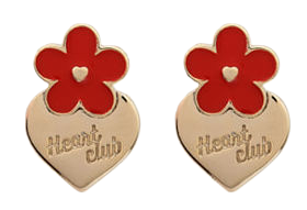 HEART CLUBIvory-Tone Flower With Silver Heart Stud Earrings