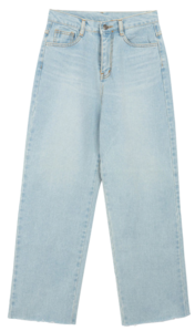 ESSAYFaded Wash Raw Hem Wide-Leg Jeans