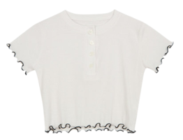Button frill cropped T-shirt