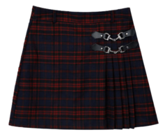 LONELY CLUBBit Buckle Accent Check Skirt