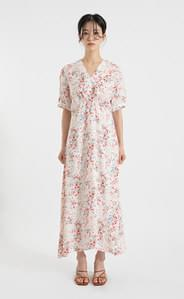 Rose Shirring V Neck Maxi Dress