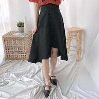 Unbalanced button flared skirt