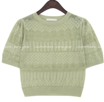LINEN PUNCHING PUFF CROP 1/2 KNIT