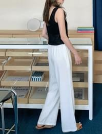 Wide Fit Linen Banding Pants