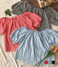 Strawberry Jam Check Off Shoulder Blouse