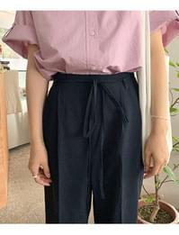 Ribbon Belt Pintuck Slacks