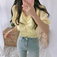 Solid shearing cropped blouse