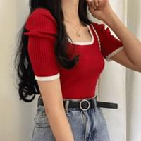 Raspberry Color Puff Ribbed Knit