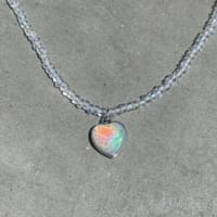 Heart crystal beads necklace