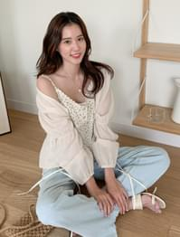 Natural shirring strap summer cardigan