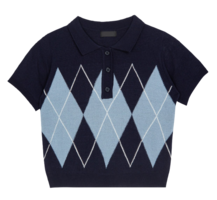 Argyle Pattern Knit Polo Top