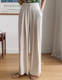 Iride pin tuck linen pants