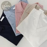 Low-linen short-sleeved shirt