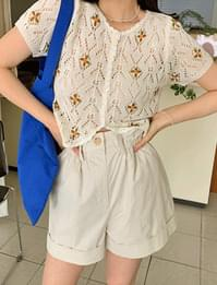 Vintage flower embroidery punching cardigan