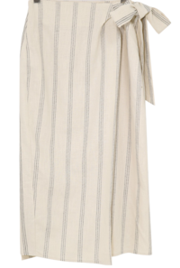 Striped linen wrap long skirt