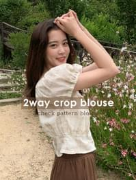 2 way crop check blouse