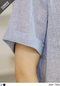 CHECK LINEN ROLL UP 1/2 BLOUSE