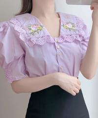 Joy Flower Embroidery Blouse