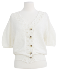 Lace puff cardigan