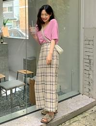Miu Check Linen Long Skirt