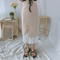 Lace layered trim long skirt