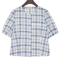 DICRE COTTON CHECK 1/2 BLOUSE