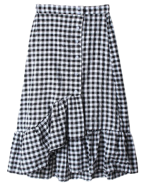 Tomable check unbutton button skirt