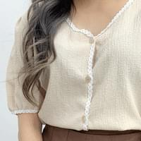 Arrow lace short sleeve blouse