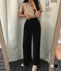 High waist wide long pintuck slacks