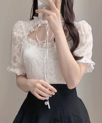 ♥Bubble lace ribbon blouse