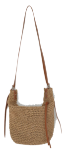Natural leather strap rattan bag